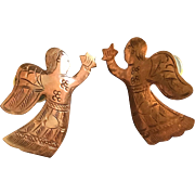 Sweetest copper Angel Christmas earrings