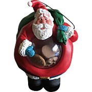 Vintage 1992 Santa with a belly full of cookies ornament