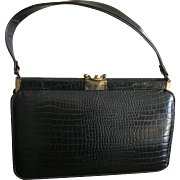 Mid Century modern Grace Kelly style alligator handbag purse