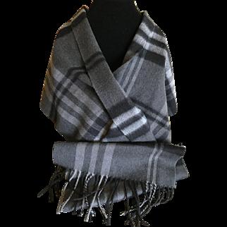 Cashmere and wool rectangular fringed coat scarf