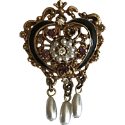 Vintage Victorian revival heart pin brooch