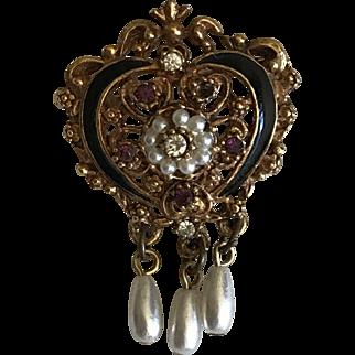 Vintage Victorian revival heart pin brooch