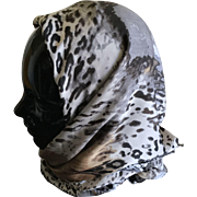 Vintage animal print head scarf