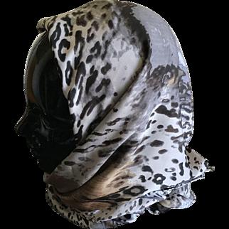 Vintage animal print head scarf