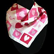 Vintage Valentine hearts pure silk scarf