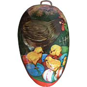 Vintage Easter egg shaped candy container Mamma Hen and Chicks Germany
