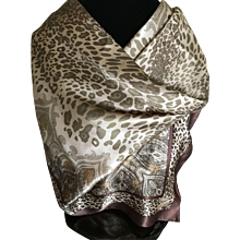 Vintage pure silk satin Oscar de la Renta scarf bronze animal print