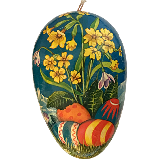 Vintage German Easter egg shaped candy container Alps and flowers
