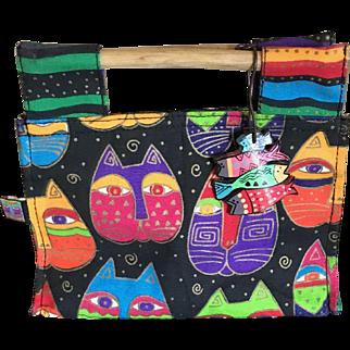 Vintage petite Laurel Burch canvas cat purse handbag tote