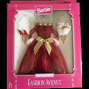 Vintage Barbie red off shoulder evening gown, purse, shoes in original package