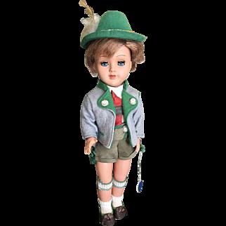 Vintage Gura tagged doll boy in Alpine lederhosen attire