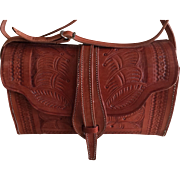 Vintage hand tooled leather purse handbag made in Costa Rica