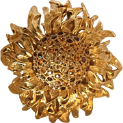 Vintage Monet sunflower brooch large statement piece