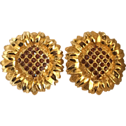 Vintage bold sunflower clip on earrings