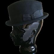 1950s Wormser fedora hat in black wool felt made in USA