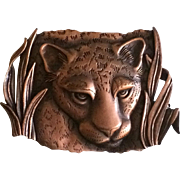 Vintage copper panther brooch