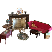 Vintage collection of dollhouse furniture and accessories