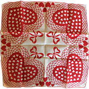 Valentine hearts and bows cotton handkerchief