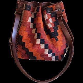 Vintage 1967 Italian carpet and leather boho chic bucket style handbag