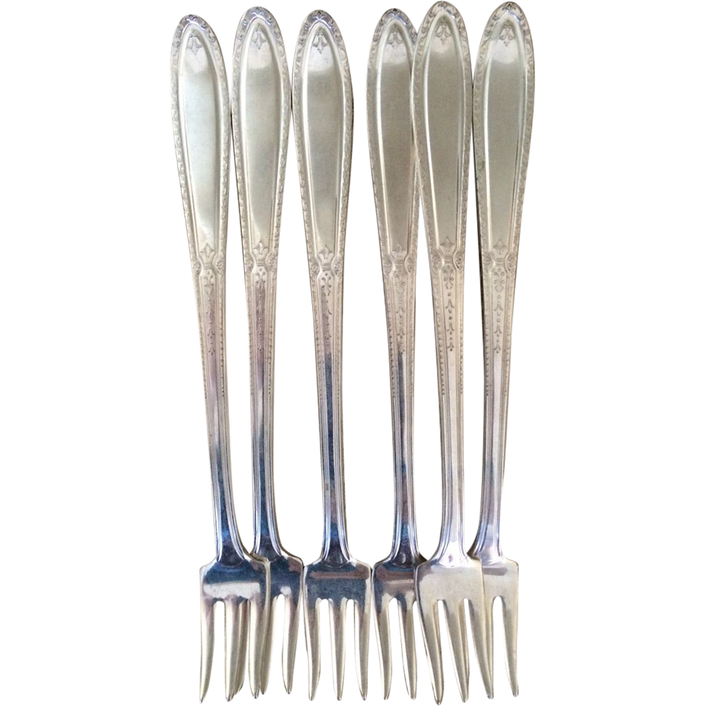 Vintage Isabella Silverplate Set of 6 Cocktail Forks