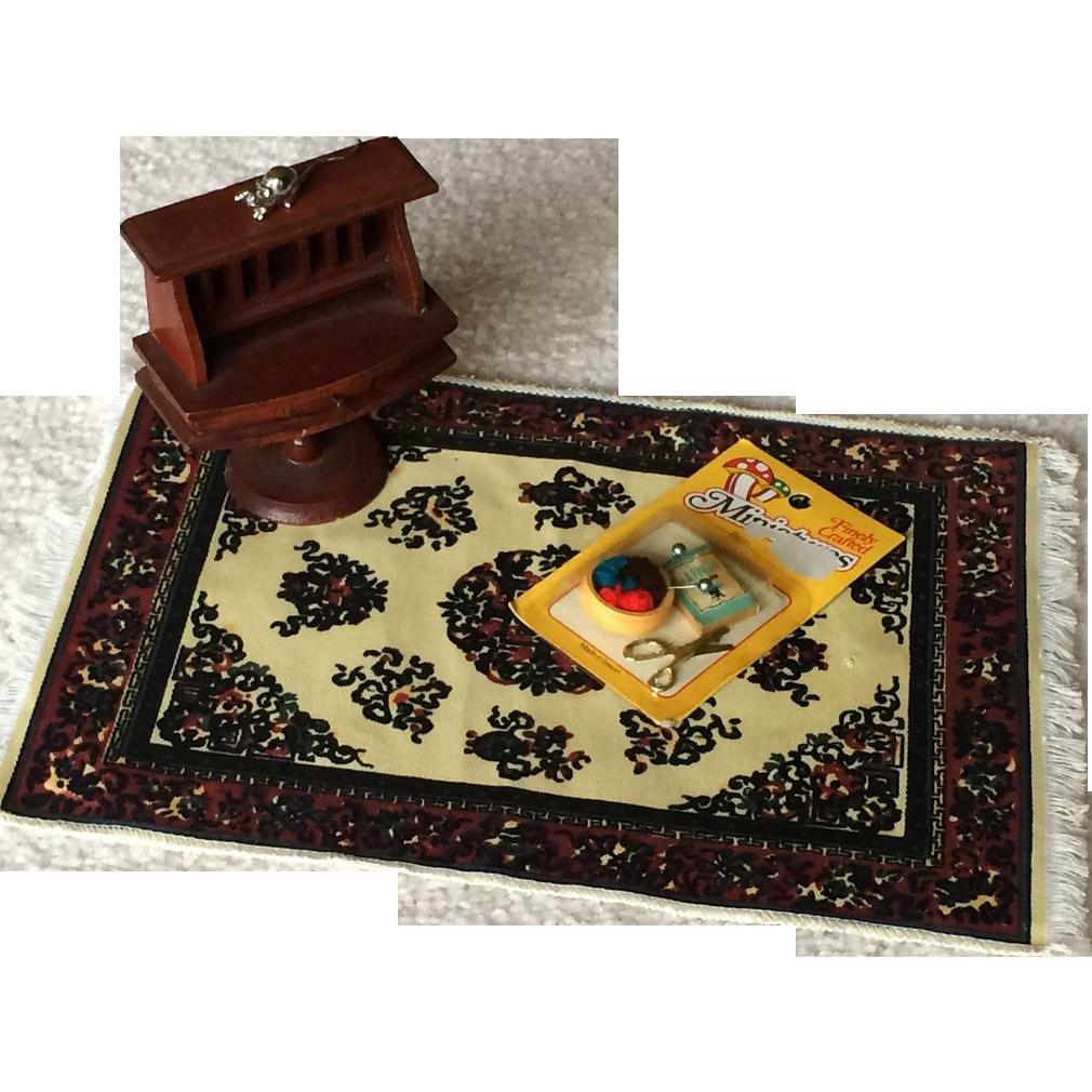 vintage doll house miniature desk rug room accessories