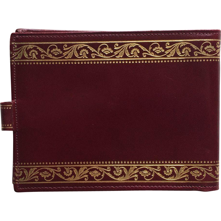 Vintage Italian Leather Wallet in Cordovan with Gold Scroll Embossed Trim