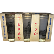 Norman Baxter Texas Sesquicentennial Commemorative Drinking Glasses Original Box
