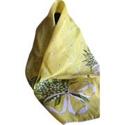 Vintage Sunshine Yellow Silk Lily of The Valley Scarf by Carol Stanley