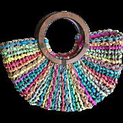 Vintage Cappelli Easter egg colored woven straw tote handbag