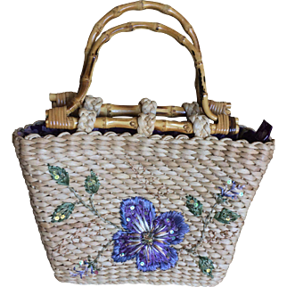 Vintage Cappelli Straw handbag with lavender flower and bamboo handles