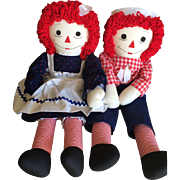 Vintage 24 inch Raggedy Ann and Andy cloth dolls