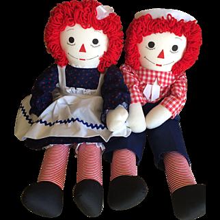 Vintage 24 inch Raggedy Ann and Andy cloth dolls