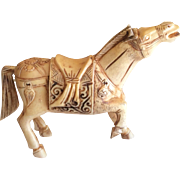 Vintage Asian Chinese bone hand carved horse