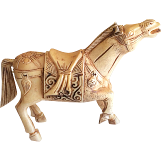 Vintage Chinese bone hand carved horse