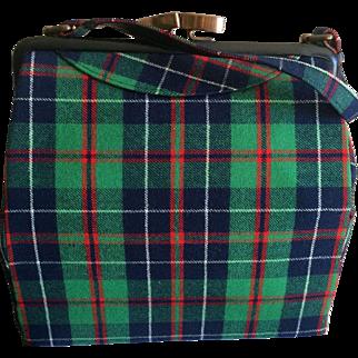 Vintage 1950s green Tartan plaid handbag by Meyho of Edinburgh Scotland