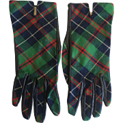 Vintage Green Tartan Plaid wool and Leather Gloves by Stuart of England