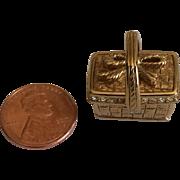 Vintage Swarovski goldplated miniature picnic basket swan logo