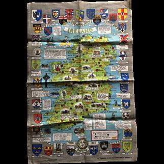 Vintage Irish linen tea towel map of Ireland