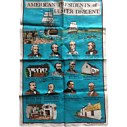Vintage unused Irish linen tea towel featuring American Presidents of Irish heritage