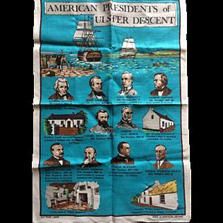 Vintage Irish linen tea towel with American Presidents with Irish heritage