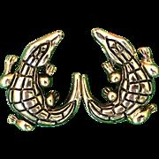 Vintage gold tone and black detailing alligator or crocodile pierced earrings