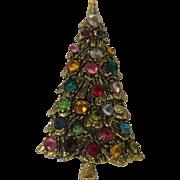 Christmas tree brooch with rhinestone ornaments
