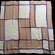 Vintage gossamer sheer pure silk geometric pattern scarf