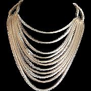 Vintage Monet multi strand goldtone chain necklace
