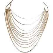 Vintage Monet multi strand goldtone chain necklace