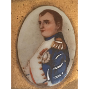 Vintage Matchbox cover with hand painted oval porcelain portrait