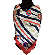 Vintage red white and blue patriotic nautical scarf