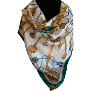 Vintage 1950s sheer silk scarf with gold key design