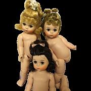 3 Vintage Madame Alexander alex kin Dolls