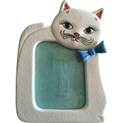 Vintage white cat porcelain picture frame Japan